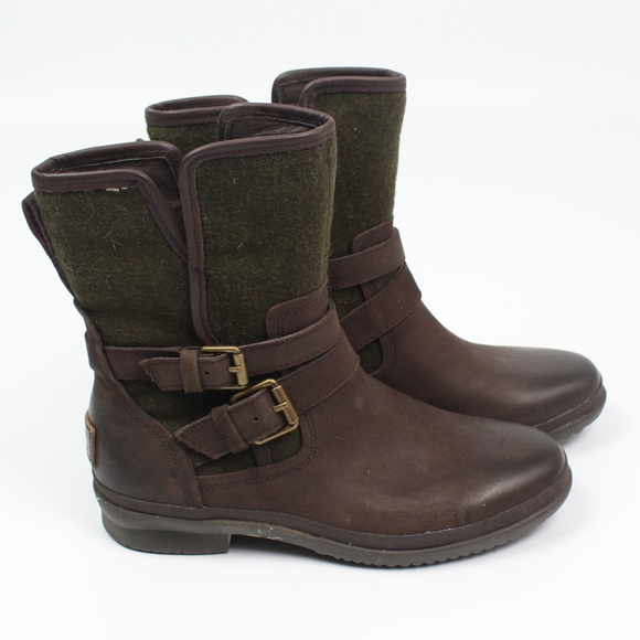 c84e4ffc293 UGG Simmens waterproof leather boots green brown